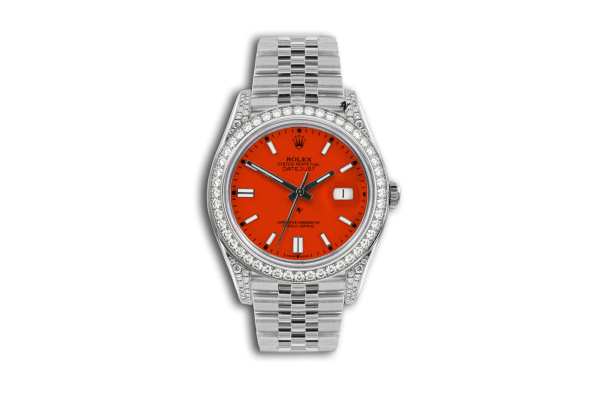 Rolex Datejust 36mm With Custom arancione diamonds dial