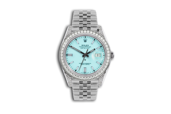 Rolex Datejust 36mm With Custom azzurro diamonds dial