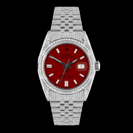 Rolex Datejust Rolex Datejust 36mm With Custom bordeaux dial,  Full diamonds