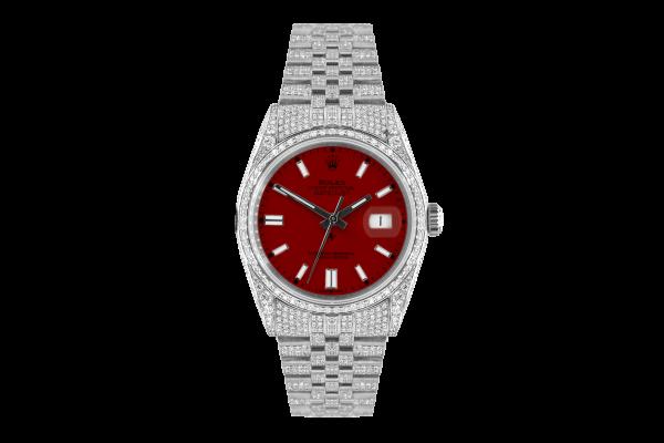 Rolex Datejust 36mm With Custom bordeaux dial,  Full diamonds