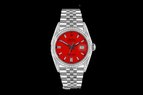 Rolex Datejust 36mm With Custom red dial, bezel diamonds