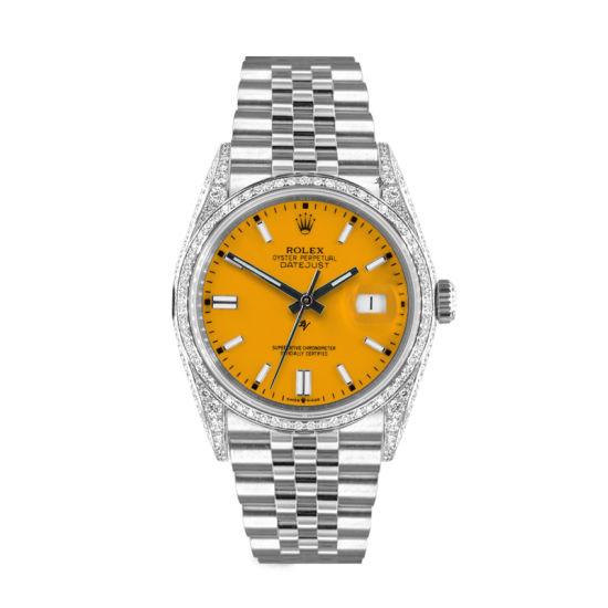 Rolex Datejust Rolex Datejust 36mm With Custom Yellow dial, bezel diamonds