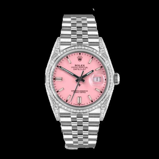 Rolex Datejust Rolex Datejust 36mm With Custom Pink dial, bezel diamonds