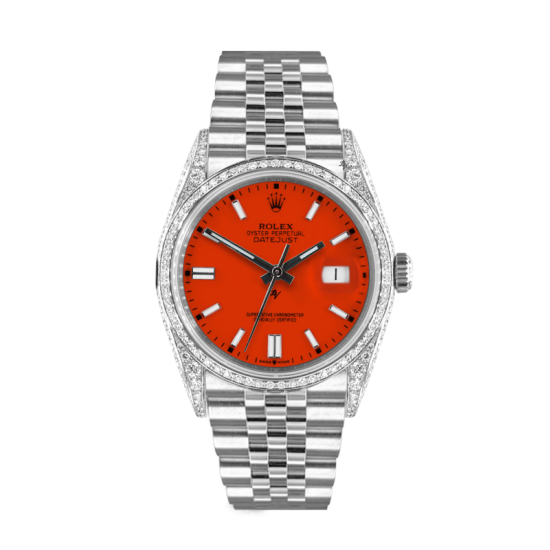 Rolex Datejust Rolex Datejust 36mm With Custom Orange dial, bezel diamonds