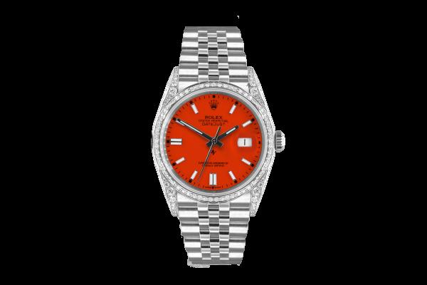 Rolex Datejust 36mm With Custom Orange dial, bezel diamonds