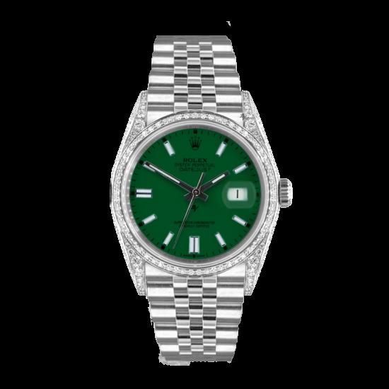 Rolex Datejust Rolex Datejust 36mm With Custom GREEN dial, bezel diamonds