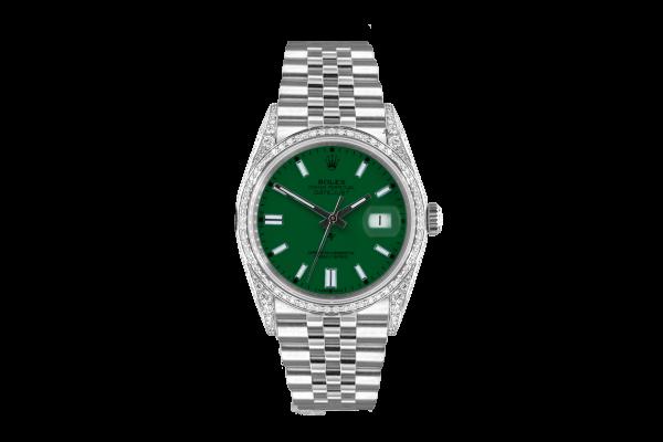 Rolex Datejust 36mm With Custom GREEN dial, bezel diamonds