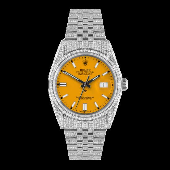 Rolex Datejust Rolex Datejust 36mm With Custom yellow dial,  Full diamonds
