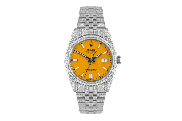 Rolex Datejust 36mm With Custom yellow dial,  Full diamonds