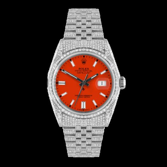 Rolex Datejust Rolex Datejust 36mm With Custom orange dial,  Full diamonds