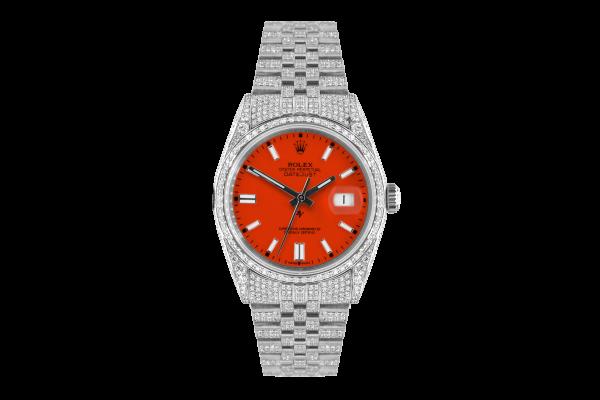 Rolex Datejust 36mm With Custom orange dial,  Full diamonds