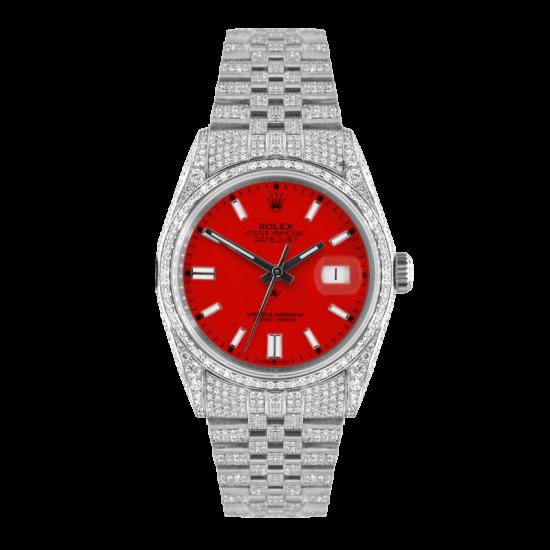 Rolex Datejust Rolex Datejust 36mm With Custom red dial,  Full diamonds