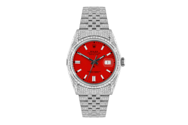 Rolex Datejust 36mm With Custom red dial,  Full diamonds