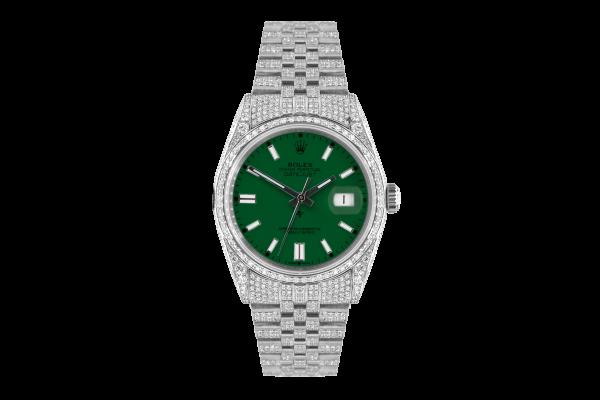 Rolex Datejust 36mm With Custom green dial,  Full diamonds