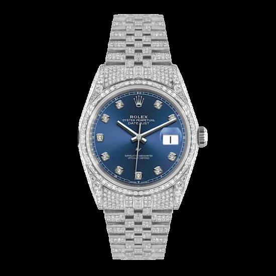 Rolex Datejust Rolex Datejust 36mm With Custom blu dial,  Full diamonds