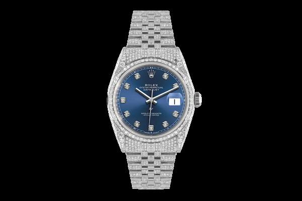 Rolex Datejust 36mm With Custom blu dial,  Full diamonds