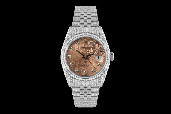 Rolex Datejust 36mm With Custom sundast dial,  Full diamonds