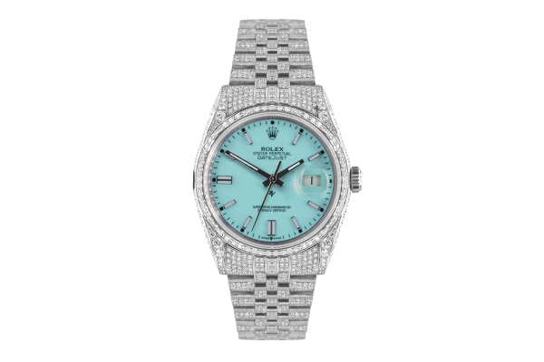 Rolex Datejust 36mm With Custom Tiffany dial,  Full diamonds