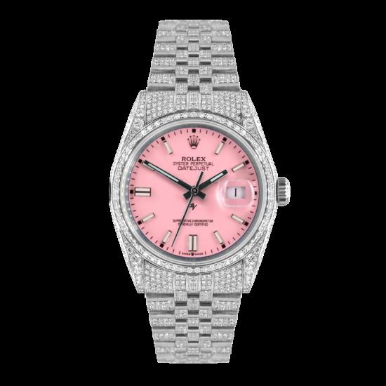 Rolex Datejust Rolex Datejust 36mm With Custom Pink dial,  Full diamonds