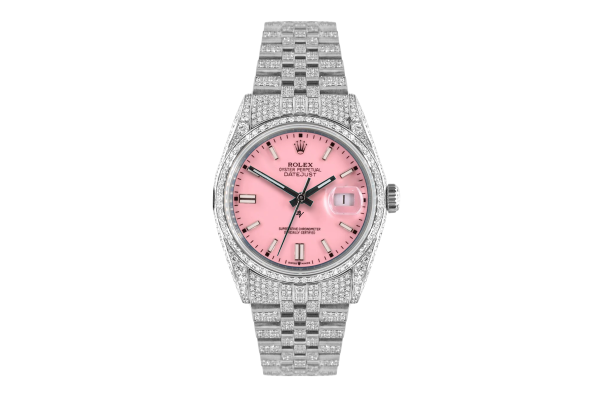 Rolex Datejust 36mm With Custom Pink dial,  Full diamonds