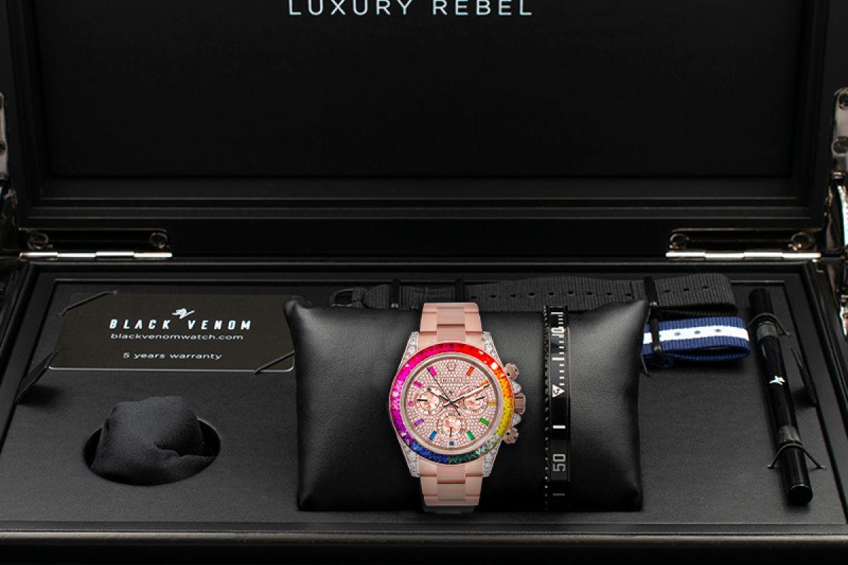Rolex Pavè Rainbow - Limited edition /5 - Black Venom custom