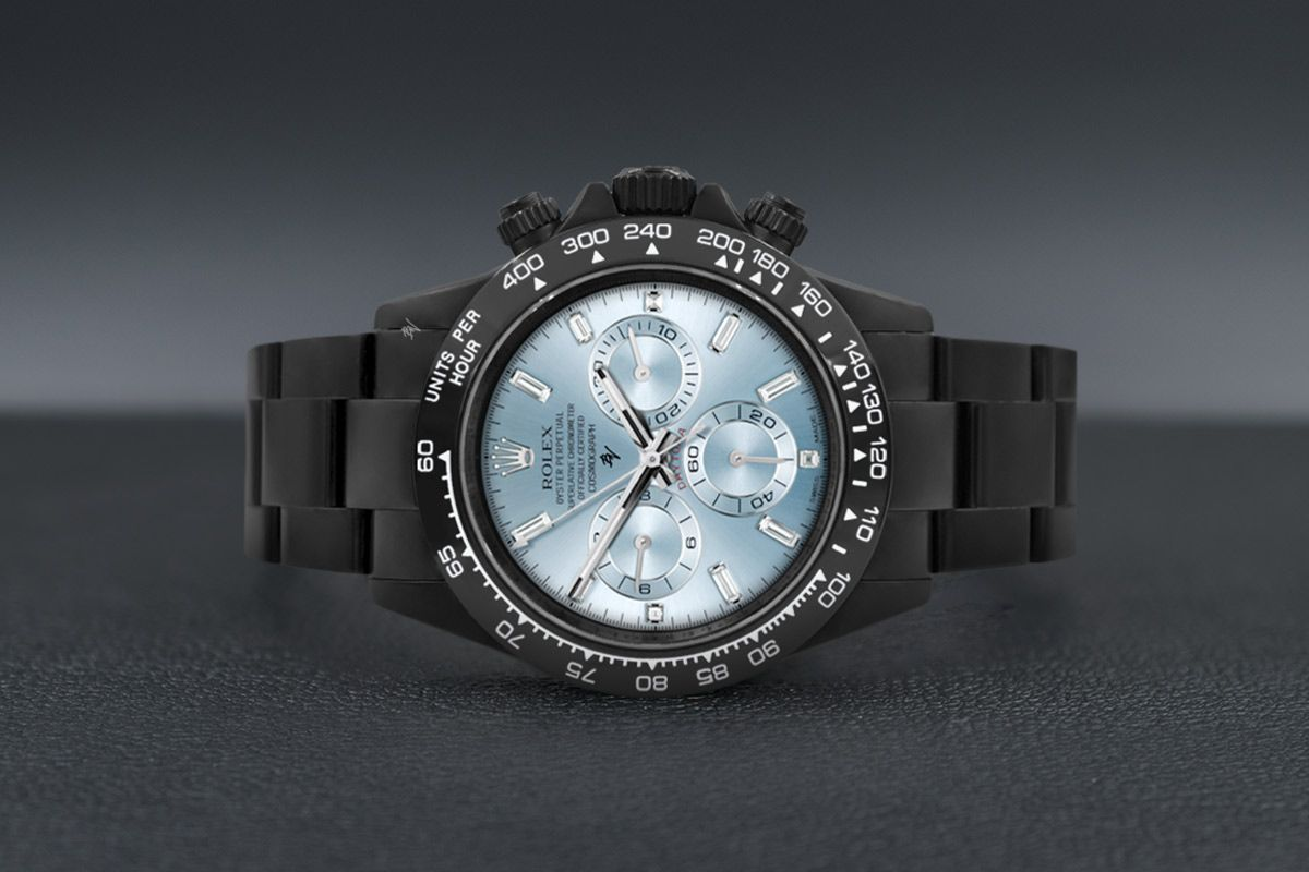 Rolex Full Blue Ice & Baguette  - Limited edition /10 Black Venom Dlc - Pvd