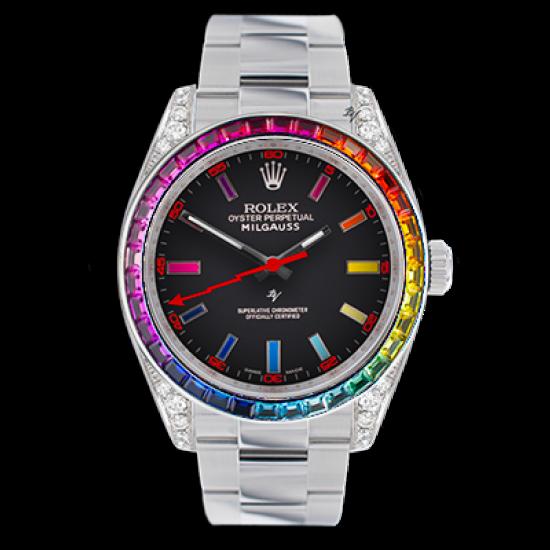 Rolex Milgauss  Rainbow steel MK2 - Limited edition /5 - Black Venom custom