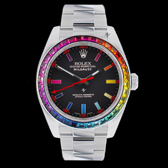 Rolex Milgauss  Rainbow steel MK1 - Limited edition /5 - Black Venom custom