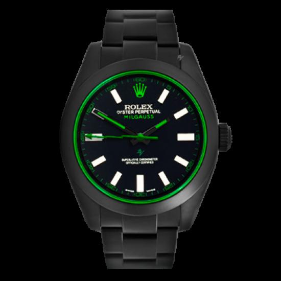 Rolex Milgauss Clean Green - Limited Edition /10 Black Venom Dlc - Pvd *