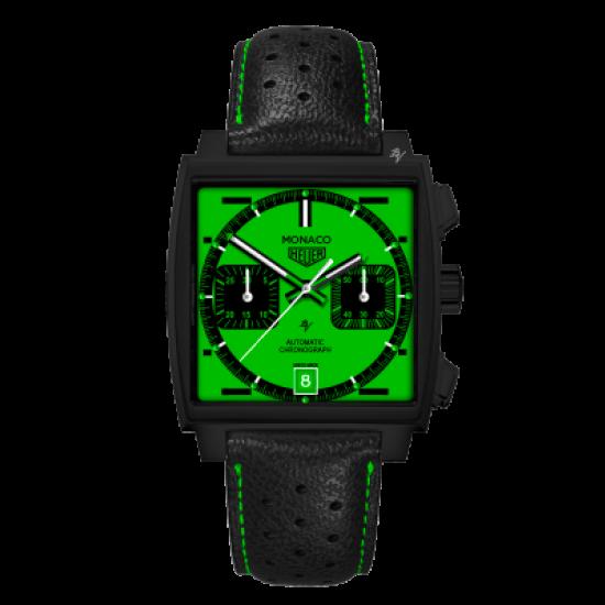 Tag Heuer Calibre 12 automatico Green Dial - Limited Edition /10 Black Venom Dlc - Pvd
